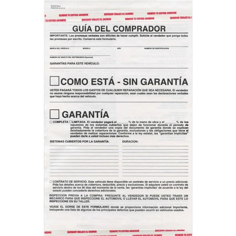 Buyers Guide Warranty Window Forms