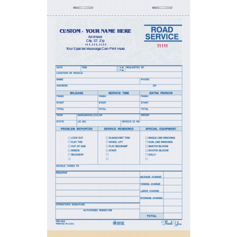 towing form books, Invoice templates