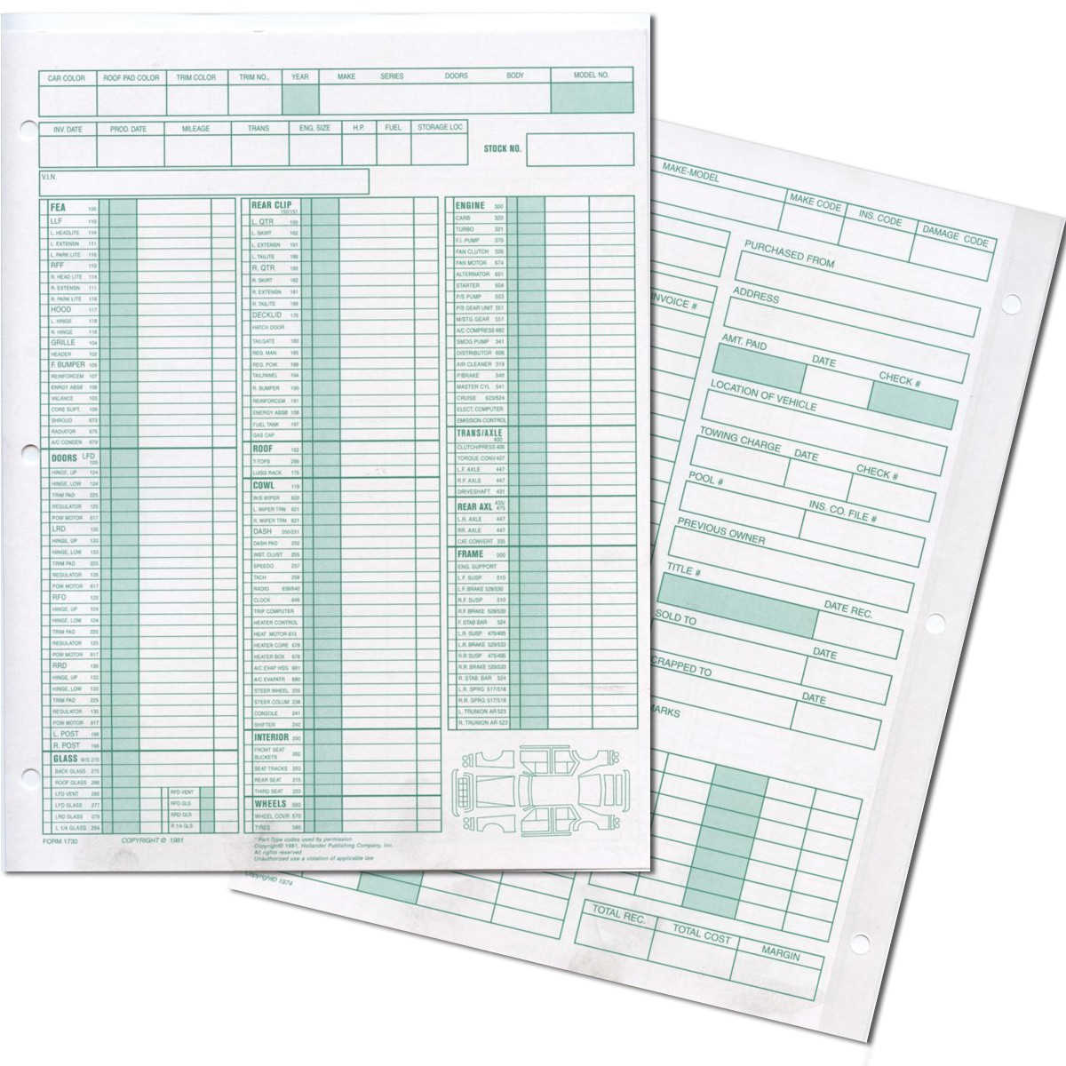 forms for manual inventory of cars parts