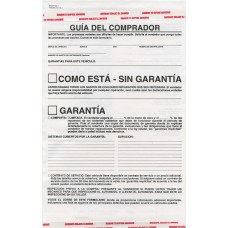 Used Car Buyers Guide Warranty Disclosure- Spanish Version