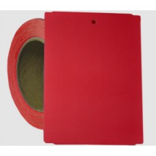 "Weatherproof Thermal Transfer Tags- 4"" x 5.5"" Red Notched Poly Stock Tag"