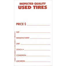Tire Tags - Weatherproof Vinyl Used Tire Label with Tire Adhesive