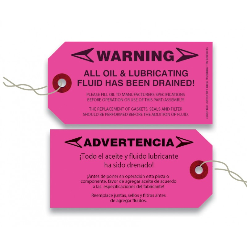 No Oil Warning Tags Commercial Forms Recycler Supply