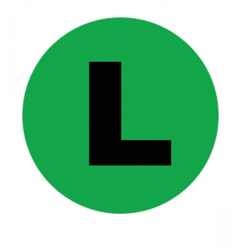 Side ID Green Left Permanent Circle Labels