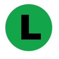 Label - Side ID Green Left Circle Labels - Permanent Adhesive