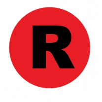 Label - Side ID Red Right Circle Labels - Removable Adhesive