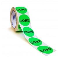 """Label - 2"""" CORE Labels Fl. Green Circle 500 per Roll"""