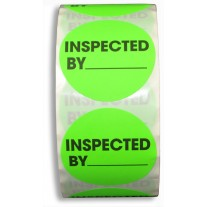 "Label - 2"" Circle ""INSPECTED BY"" Label, Fluorescent Green (500/roll)"
