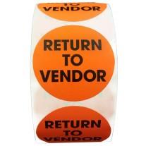 "Label - 2"" Circle Return To Vendor Labels FL. Red 500 per Roll"