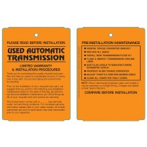 Maintenance Pre-Installation & Warranty Tags - Auto Transmission