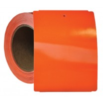 "Thermal Transfer Tags Weatherproof - 4"" x 5.5"" Orange Notched PolyMaxx Tag Stock"