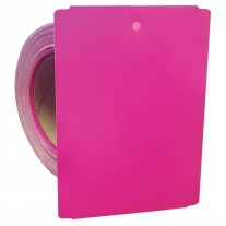 "Thermal Transfer Tags Weatherproof - 4"" x 5.5"" Pink Notched PolyMaxx Tag Stock"