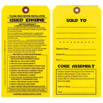 Maintenance Pre-Installation & Warranty Tags - Engine