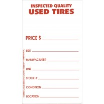 Tire Tags - Weatherproof Vinyl Used Tire Label Stickers With Tire Adhesive