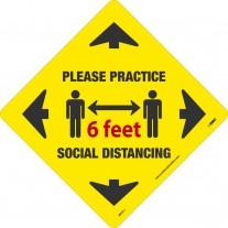 Sign-PLEASE PRACTICE 6 FEET SOCIAL DISTANCE FLOOR DECAL