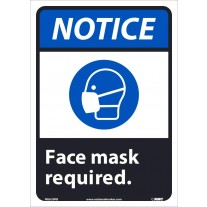 Warning Sign-NOTICE FACE COVERING REQUIRED Adhesive Vinyl