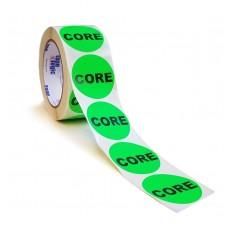 """Label - 2"""" CORE Fl. Green Circle Label 500 per Roll"""