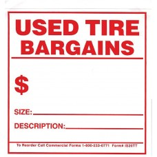 Tire Tags - Adhesive Used Tire Bargain