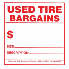 Tire Tags - Staple-on Used Tire Bargain