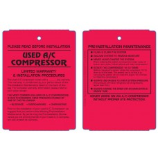 Maintenance Pre-Installation & Warranty Tags - A/C Compressor