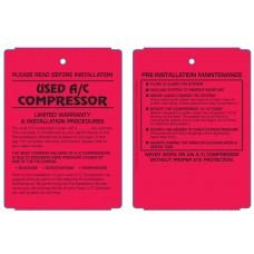 Maintenance Pre-Installation & Warranty Tags - A/C Compressor