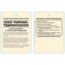 Maintenance Pre-Installation & Warranty Tags - Manual Transmission