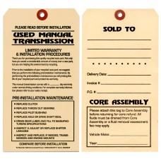 Maintenance Pre-Installation & Warranty Tags - Manual Transmission