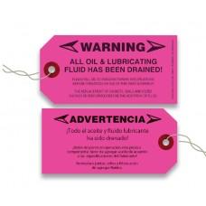 Maintenance No Oil Warning Tags