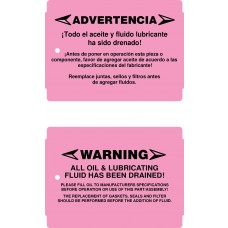 -No Oil Warning Tags - Weatherproof