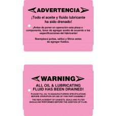 No Oil Warning Tags - Weatherproof