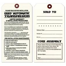 Maintenance Pre-Installation & Warranty Tags - Auto Transmission