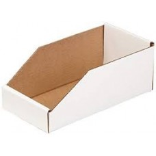 "Parts Bin- 8"" x 12"" x 4 1/2"" White Corrugated Cardboard"