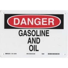 Warning Sign-DANGER GASOLINE AND OILAluminum