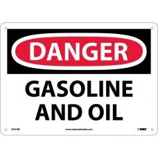 warning Sign-DANGER GASOLINE AND OIL Plastic