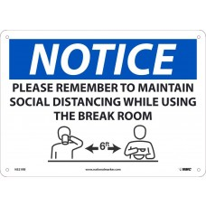 MAINTAIN SOCIAL DISTANCE BREAK ROOM SIGN