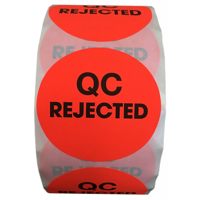 "2"" Circle QC REJECTED Labels- CF RECYCLER SUPPLY"