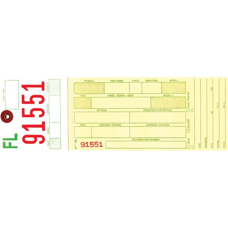 Inventory Tags- 2-Part