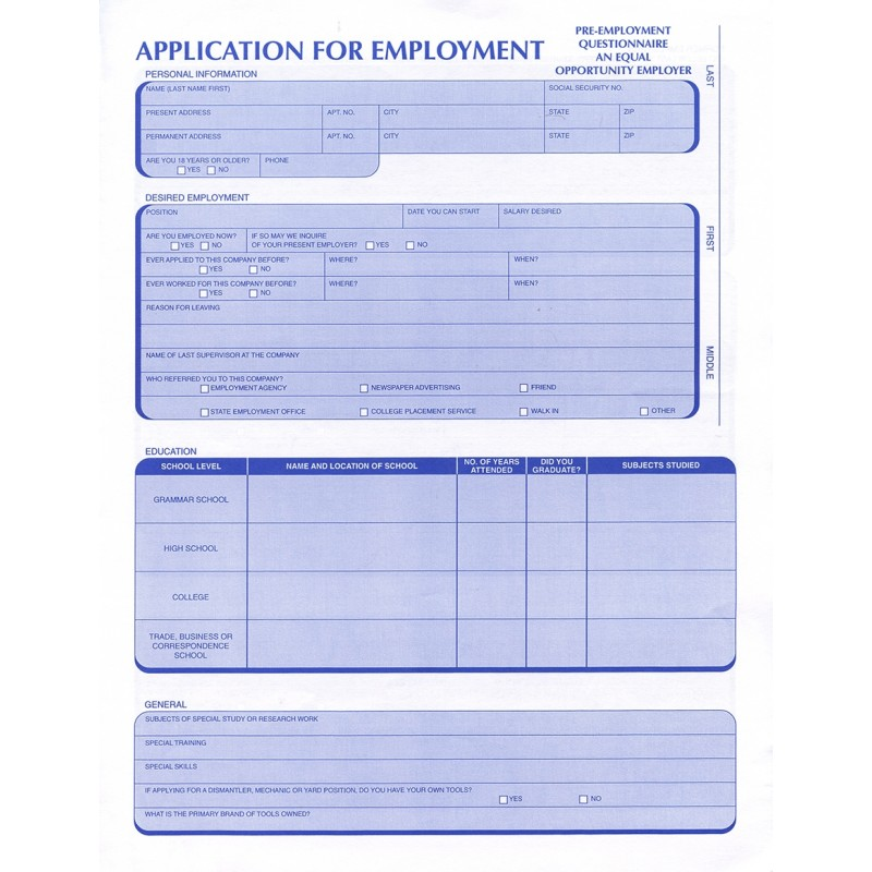 Employment Applications-Auto Recycler