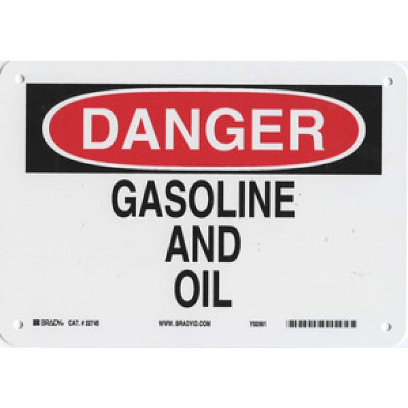 Warning Sign-DANGER GASOLINE AND OIL<br>Aluminum