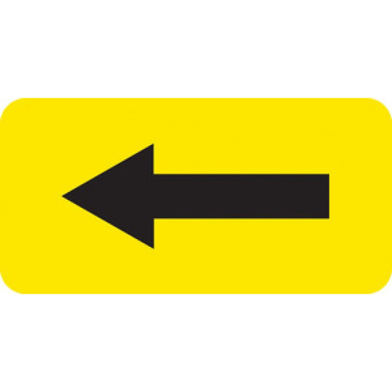 "Yellow Vinyl Arrow Label 2""x1"""