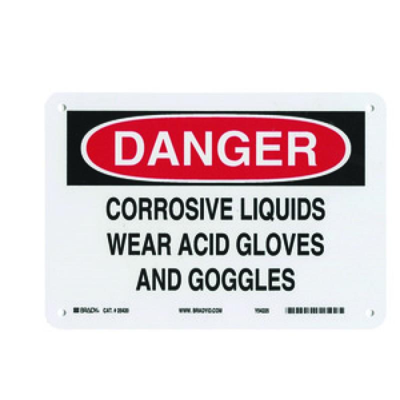 Warning Sign-DANGER CORROSIVE LIQUIDS<br>Plastic