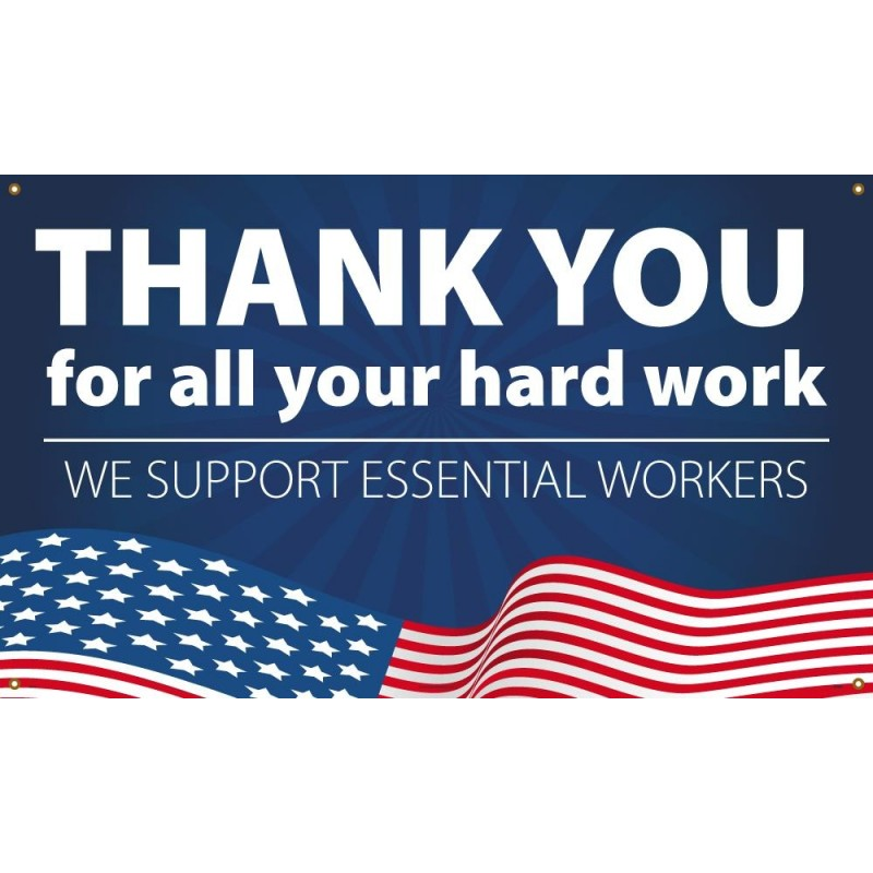 Thank You Essential Worker Patriotic Banner